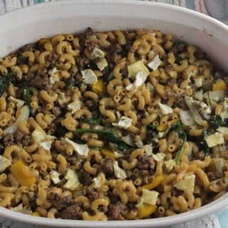 dish with cheesy beef casserole