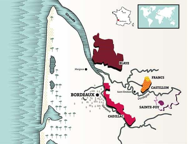 a map of the Cotes de Bordeaux wine region