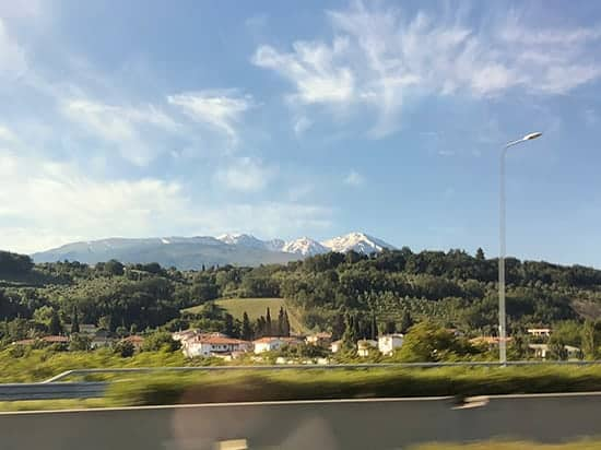 mountains in the distance on the drive from Rome to Abruzzo, Italy.