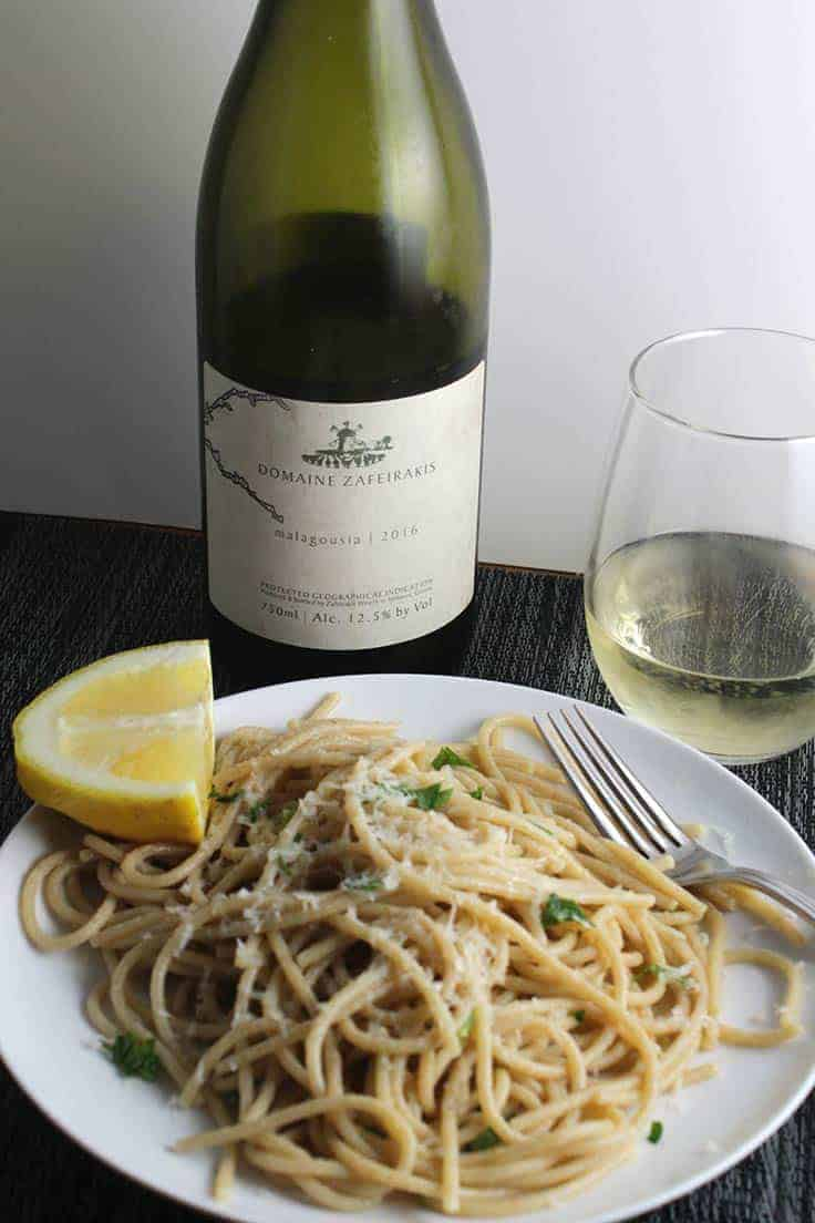 lemon spaghetti plated and served with Greek white wine.