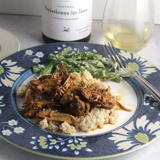 honey mustard chicken thighs paired with a white Cotes de Bordeaux.