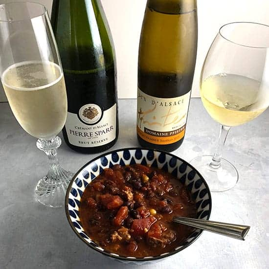 turkey chili paired with wines from Alsace.