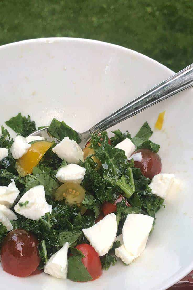 Thinly sliced kale along with traditional Caprese salad ingredients--basil, tomatoes and mozzarella--combine for a healthy and hearty Kale Caprese Salad recipe.
