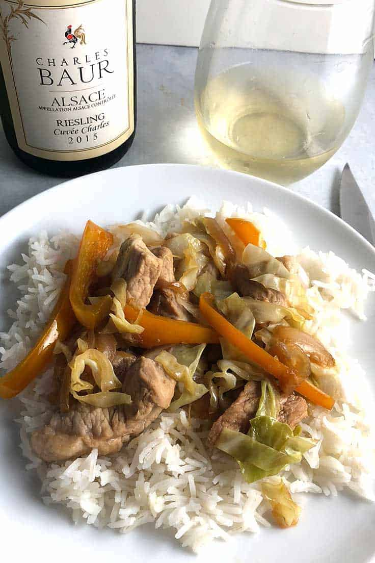 pork and cabbage skillet recipe is easy to make, and very tasty with a Riesling from Alsace. #AlsaceRocks #winepairing #pork #skilletrecipes #sponsored