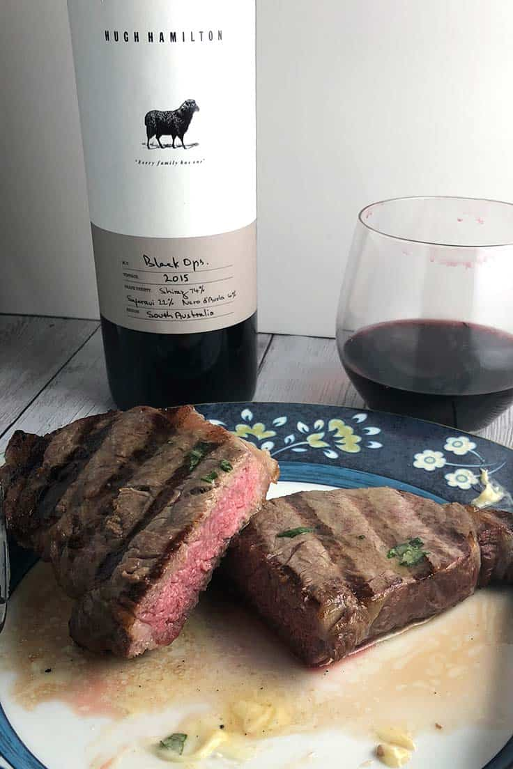Grilled Steak with Garlic Butter recipe, easy and delicious with a Shiraz blend. #steak #grilling #winepairing
