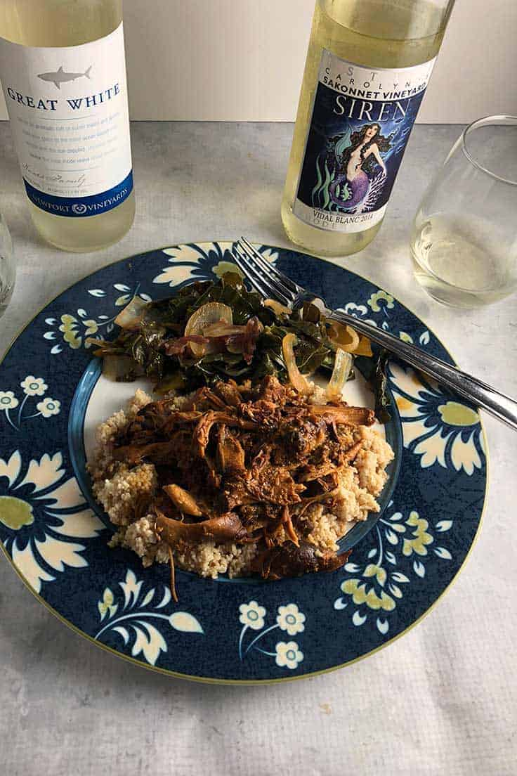 Slow Cooker Honey Mustard Chicken Thighs paired with wine from Rhode Island