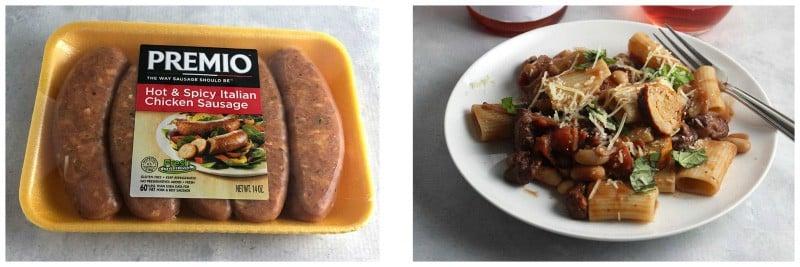 package of Premio sausages next to chicken sausage pasta dish.