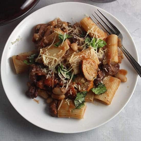 spicy chicken sausage pasta on a plate