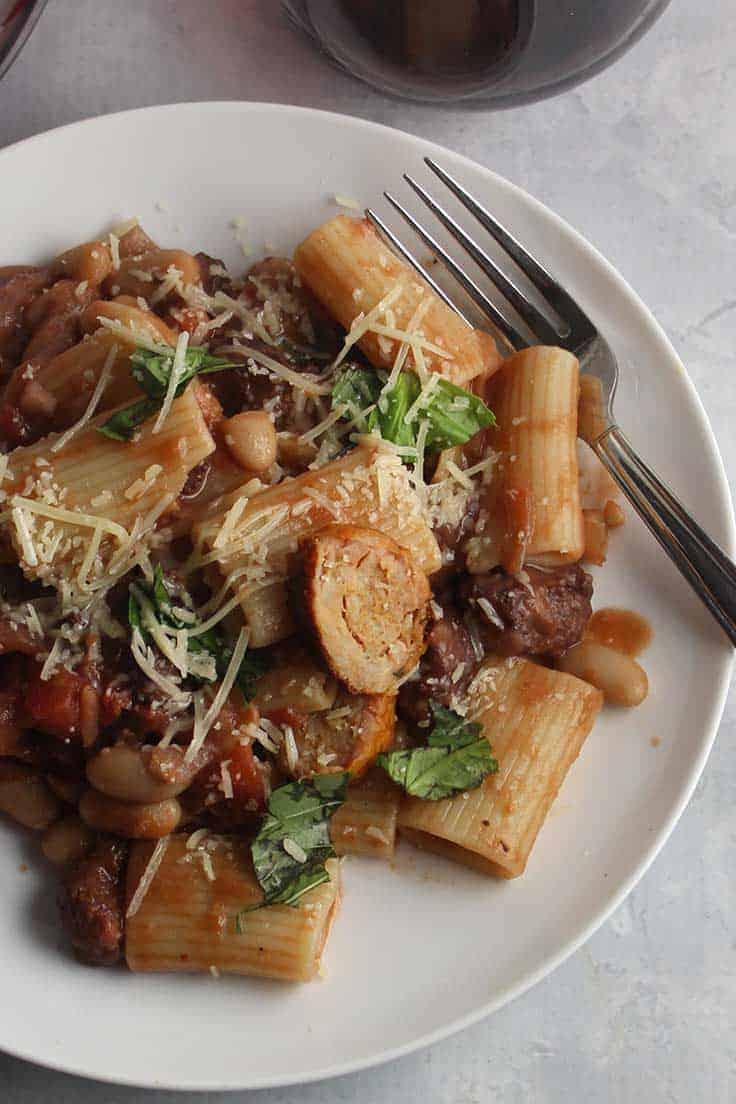 plate of spicy chicken sausage pasta.