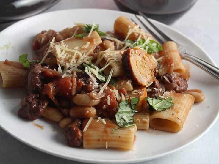 spicy chicken sausage pasta plated