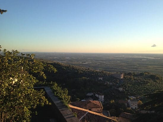 View of the plain leading to the Mediterranean sea, taken from Cori.