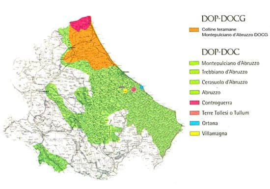 map of Abruzzo wine region