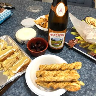 albarino with a spread of appetizers.
