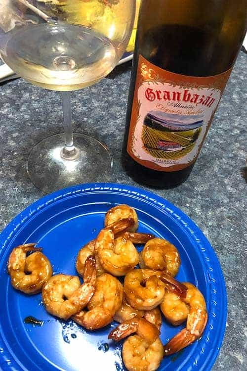 Granbazan Albariño pairs well with shrimp.