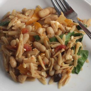 Orzo with Spinach and White Beans