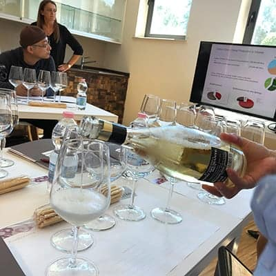 glass of sparkling wine being poured in a tasting room.