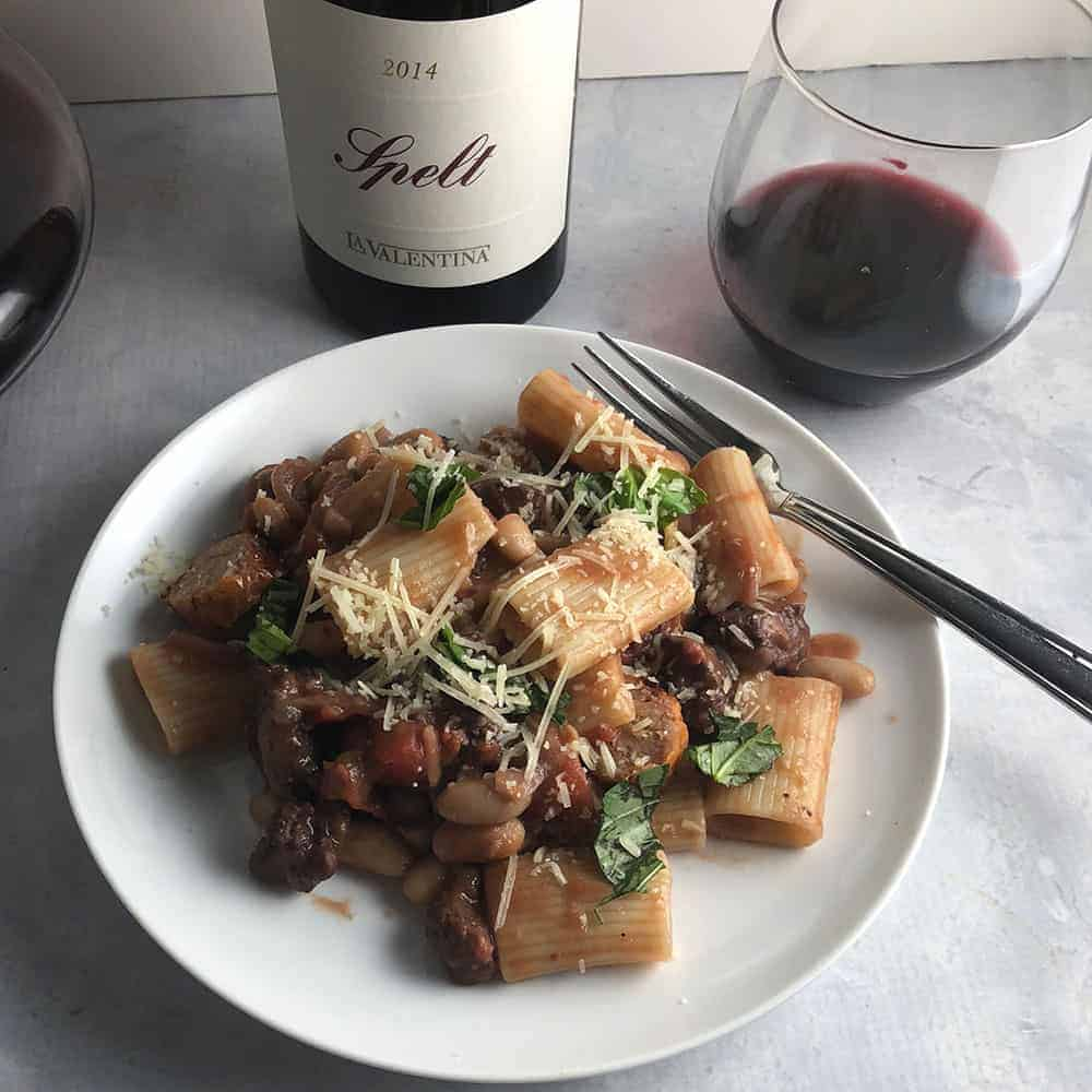 spicy chicken sausage pasta paired with Spelt Montepulciano d'Abruzzo
