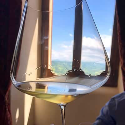 glass of Trebbiano wine in front of a window.