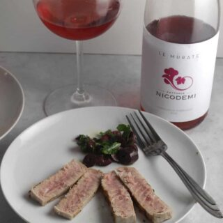 pan seared tuna with olive relish pairs very well with Cerasualo rosé wine from Abruzzo. #winepairing #rosewine