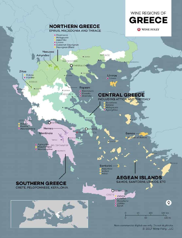 map of Greek wine regions.