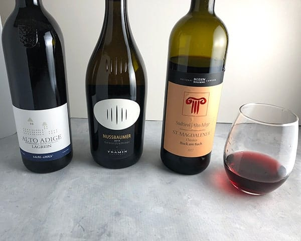 three bottles of wine from Alto Adige - Sütirol, Italy.