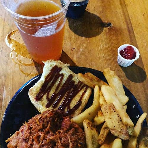 chicken sandwich with a beer at Canobie Lake Park.