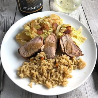 Cider Marinated Pork Tenderloin with Cabbage