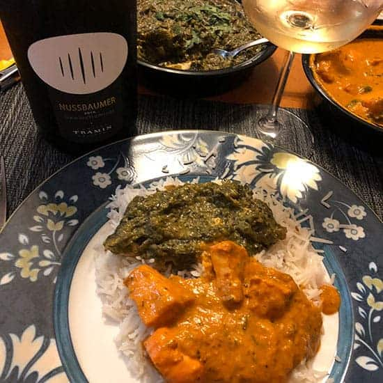 Tramin Gewürztraminer wine paired with Indian food.