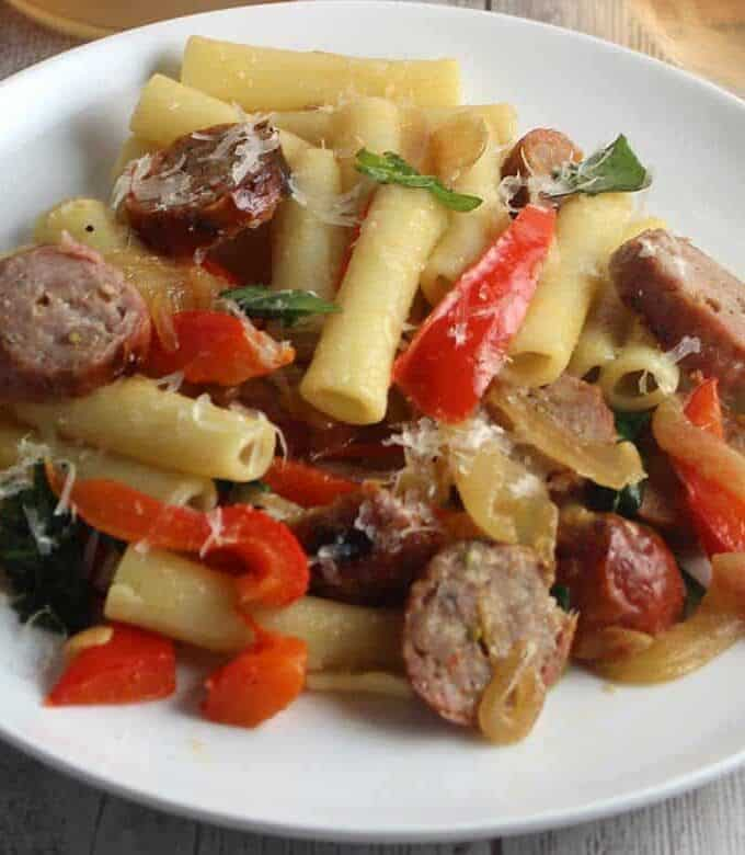 ziti with sausage and peppers.