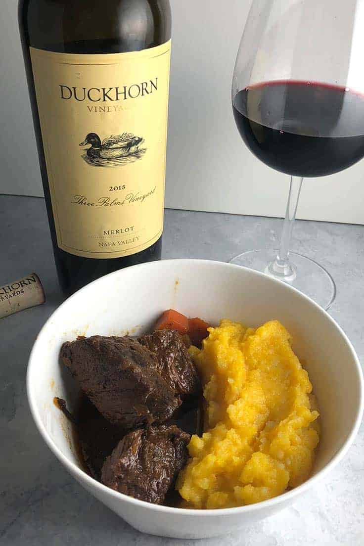 BBQ Beef Stew and Butternut Purée, delicious fall comfort food, made even better with an excellent Merlot from Duckhorn Vineyards. #winepairing #stew #sponsored
