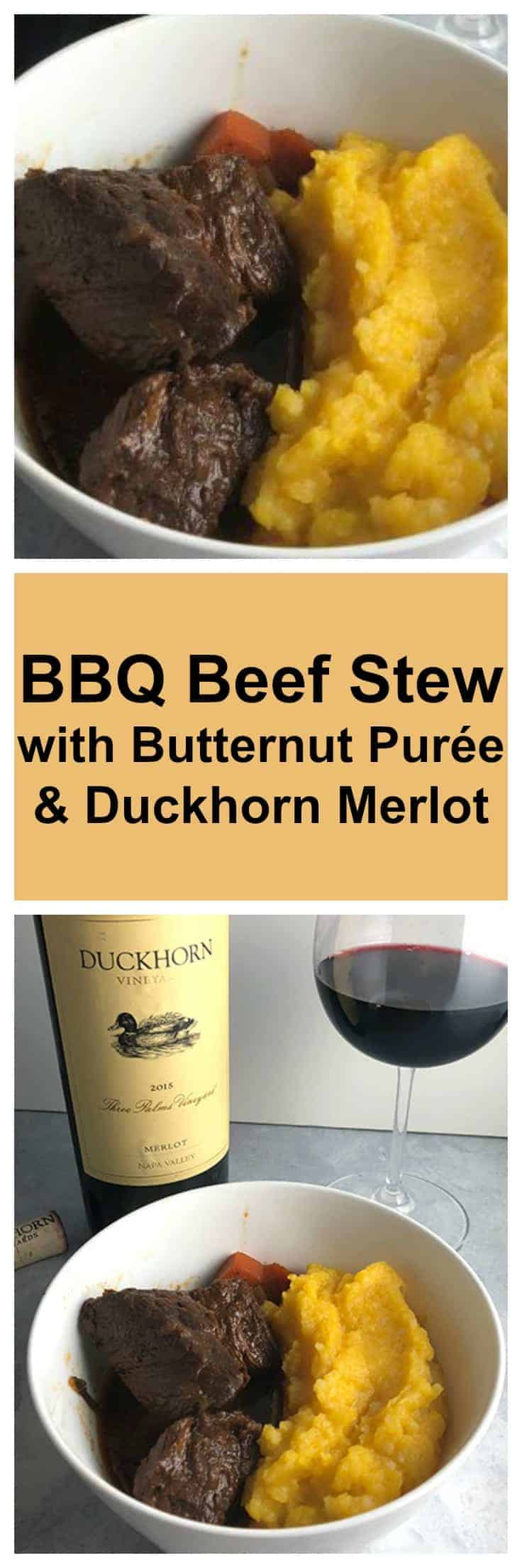 BBQ Beef Stew is delicious with butternut purée and a special Duckhorn Merlot for an excellent fall dinner. #beefstew #winepairing #MerlotMe #sponsored