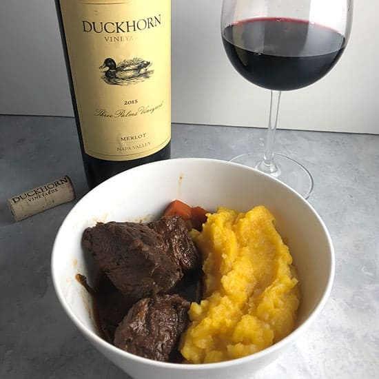 BBQ beef stew with Three Palms Napa Merlot from Duckhorn Vineyards