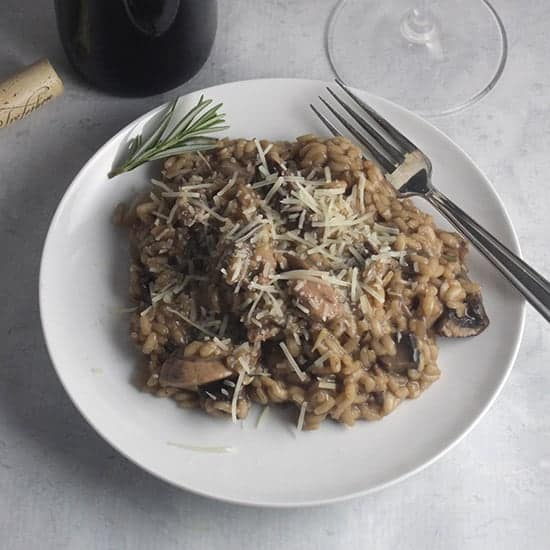 Chicken and Mushroom Risotto plated