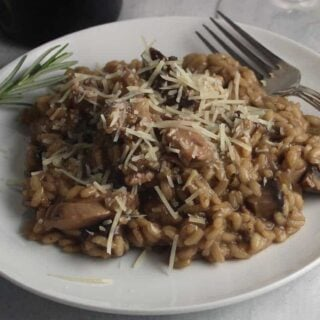 Chicken and Mushroom Risotto on a plate