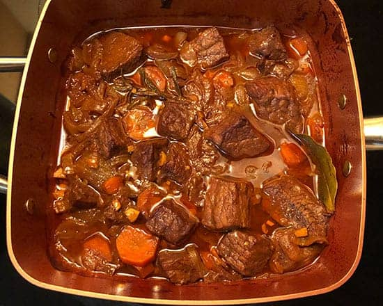 making BBQ beef stew -- browning the beef.