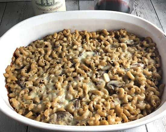 mushroom mac and cheese in casserole dish.