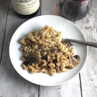 mushroom mac and cheese casserole with red wine.
