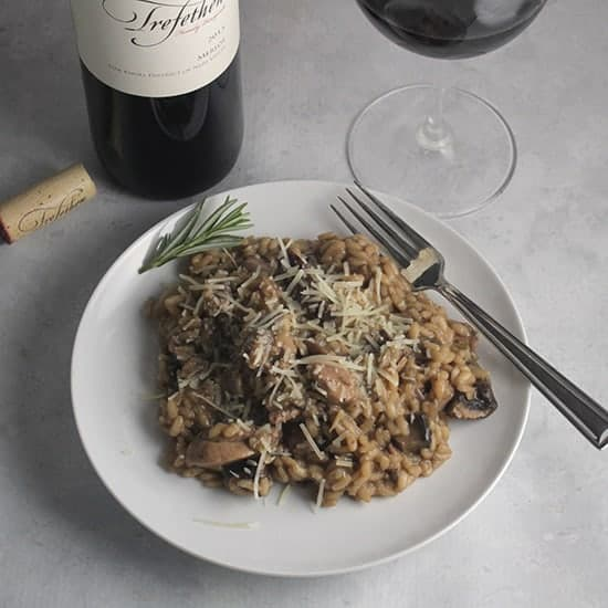 Chicken and Mushroom Risotto with Trefethen Merlot