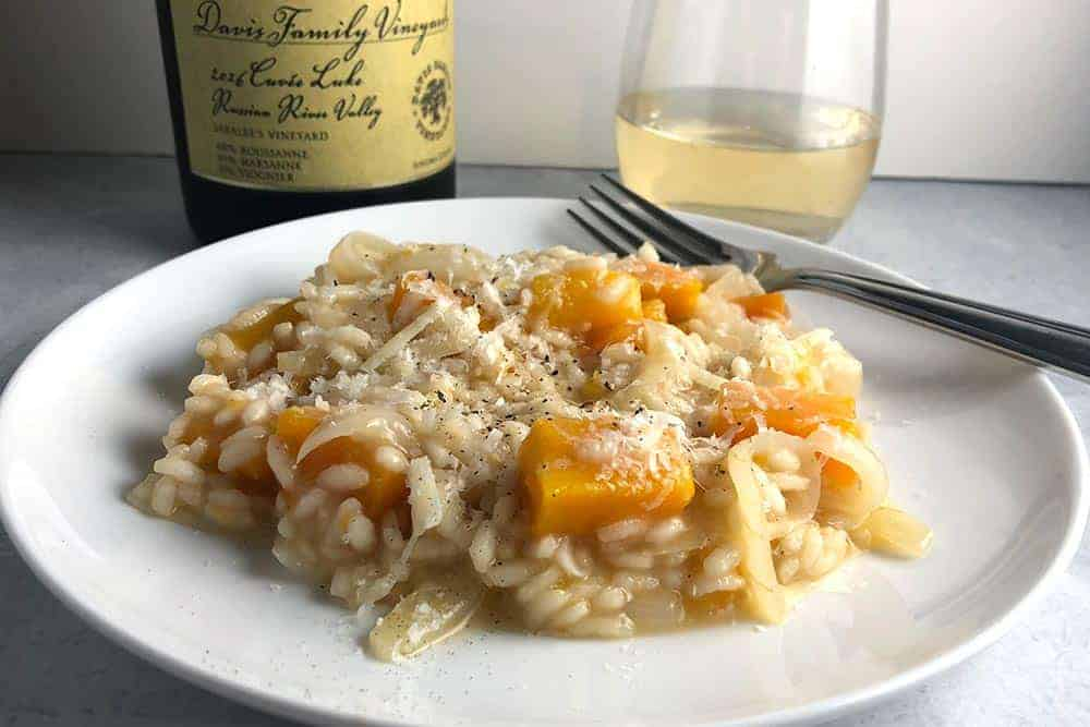 Butternut Squash Risotto with white blend from Davis Family Vineyards.