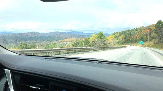 driving across Vermont during October.