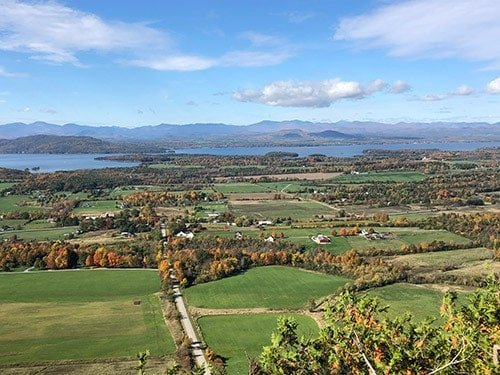 view of Lake Champlain and Adirondacks from Mt. Philo.