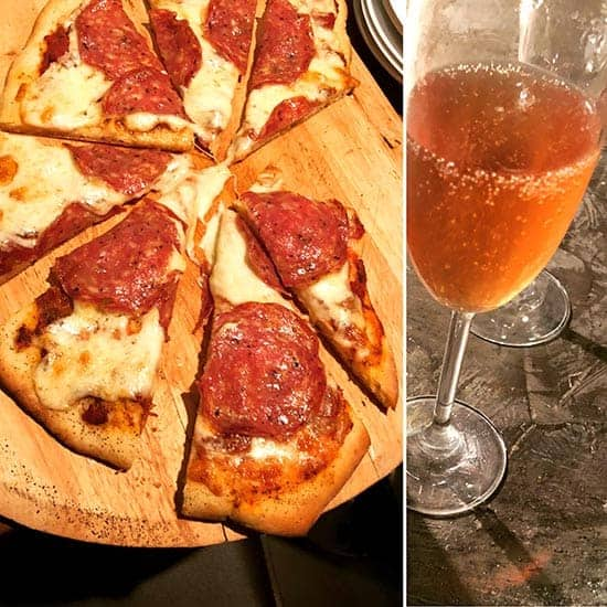 pizza paired with Crémant wine.