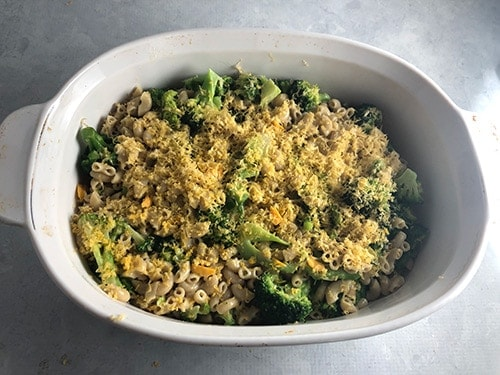 broccoli cheddar casserole ready to bake in oven.