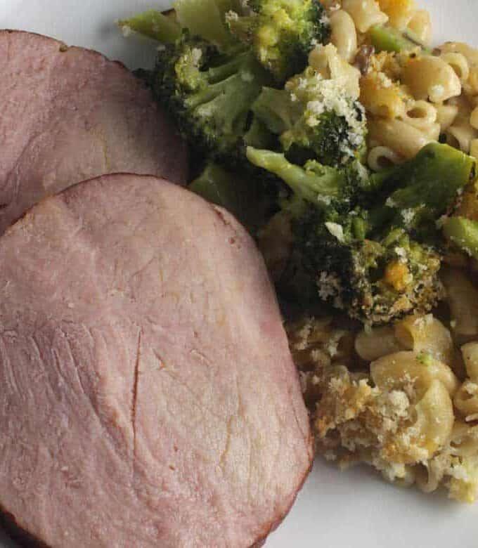 broccoli cheddar casserole served with Hatfield Ham