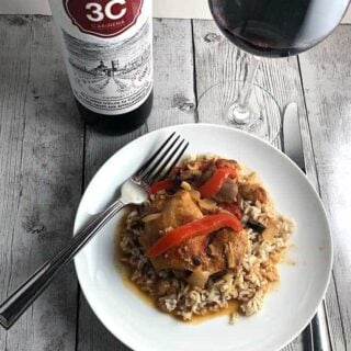 Chicken Chilindron with Carinena (Spanish Red Wine)