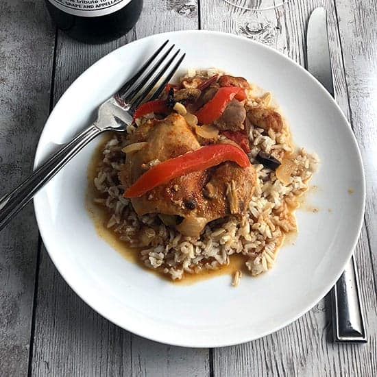 chicken chilindron served over rice