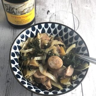 chicken sausage veggie bowl with Riesling.