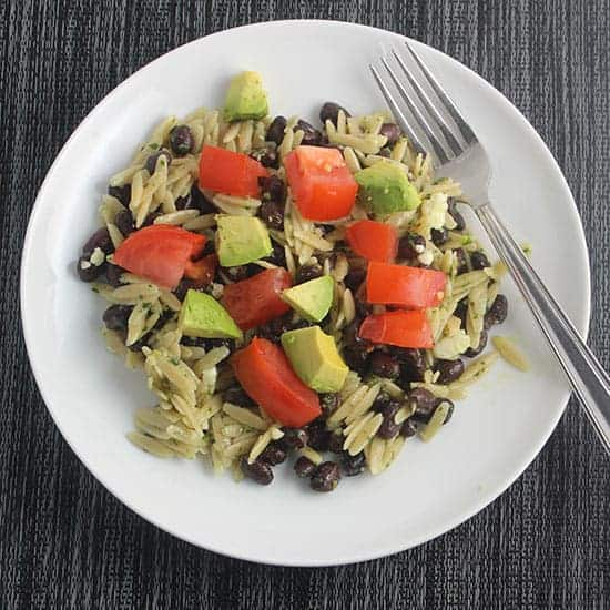orzo with cilantro pesto, black beans and tomatoes.