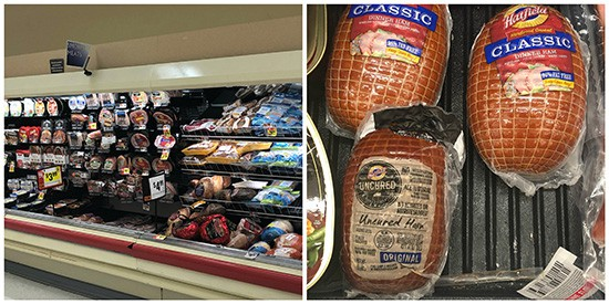 grocery store with a selection of Hatfield Ham products.