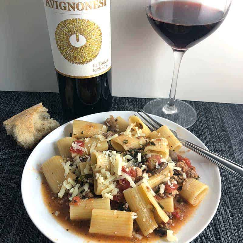 healthy bolognese paired with La Tonda red wine